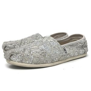 Toms Women's Classic Gray Silver Lace Glitz | Toms